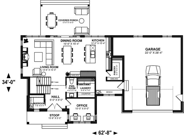 House Plan Design - Farmhouse Floor Plan - Main Floor Plan #23-2735