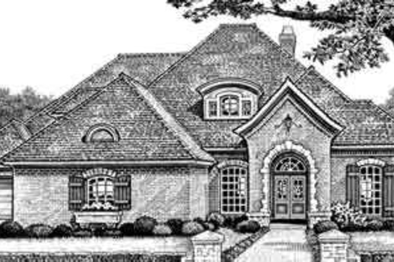 European Style House Plan - 3 Beds 2.5 Baths 2908 Sq/Ft Plan #310-278 Exterior - Front Elevation