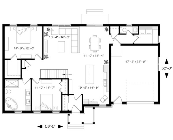 Traditional Floor Plan - Main Floor Plan Plan #23-2302