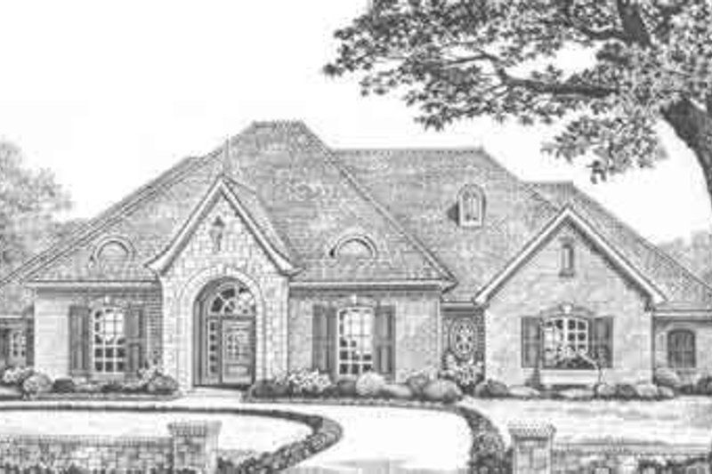 European Style House Plan - 4 Beds 2.5 Baths 2346 Sq/Ft Plan #310-362 Exterior - Front Elevation