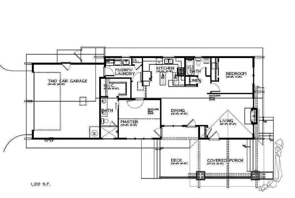 Craftsman Style House Plan - 2 Beds 2 Baths 1210 Sq/Ft Plan #895-94 Floor Plan - Main Floor Plan