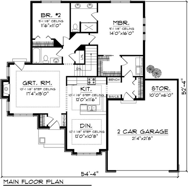 Ranch Floor Plan - Main Floor Plan Plan #70-1076