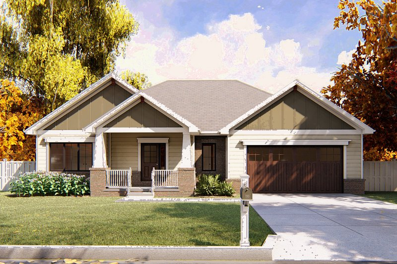 Ranch Exterior - Front Elevation Plan #455-219