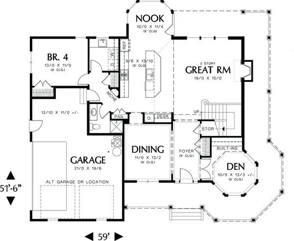 Architectural House Design - Victorian Floor Plan - Main Floor Plan #48-108