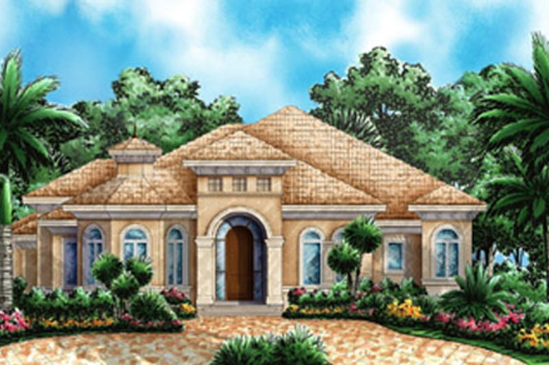 European Style House Plan - 3 Beds 3 Baths 2764 Sq/Ft Plan #27-440 Exterior - Front Elevation