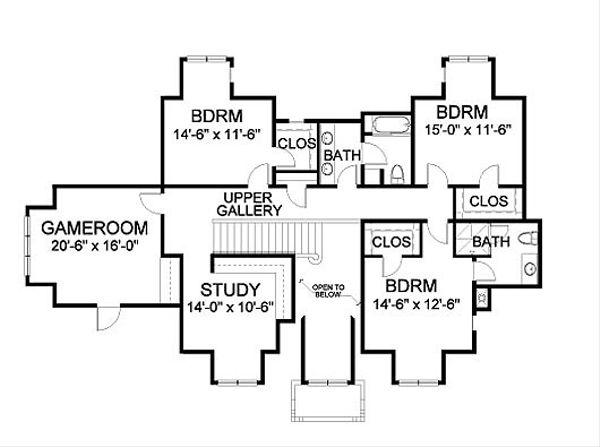Traditional Floor Plan - Upper Floor Plan Plan #490-2
