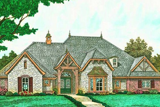 European Exterior - Front Elevation Plan #310-1279