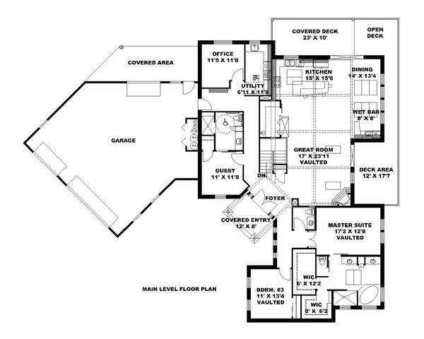 Ranch Floor Plan - Main Floor Plan Plan #117-874