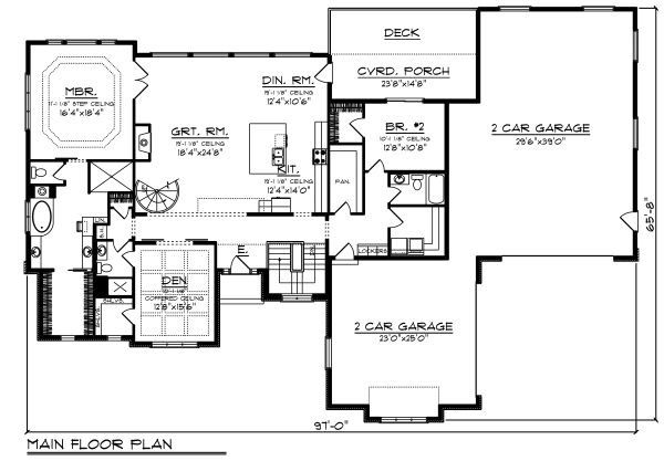 Craftsman Floor Plan - Main Floor Plan #70-1486
