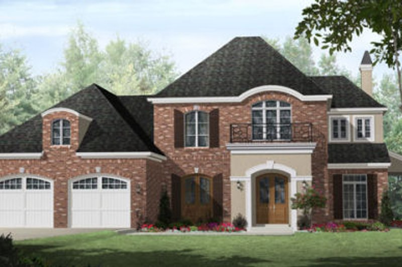 European Style House Plan - 3 Beds 2.5 Baths 2706 Sq/Ft Plan #21-259 Exterior - Front Elevation