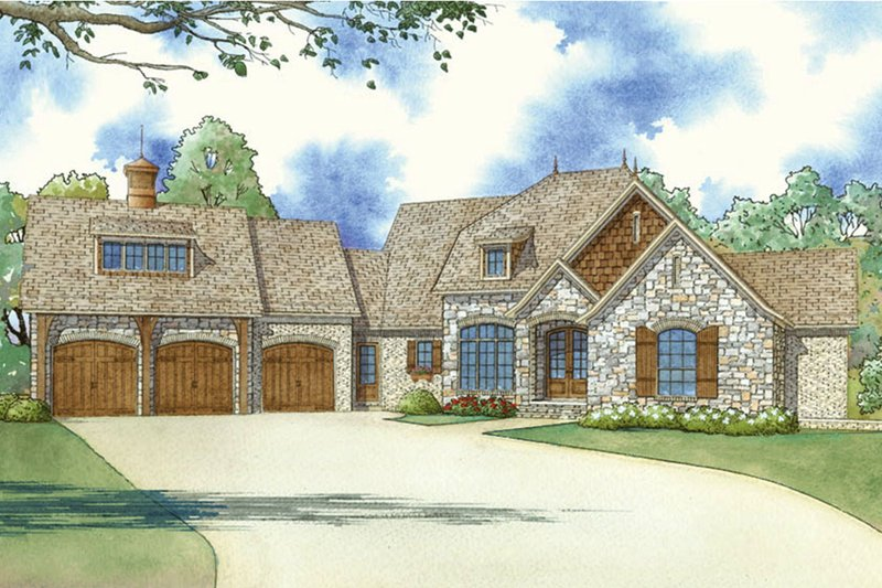 Home Plan - European Exterior - Front Elevation Plan #923-85