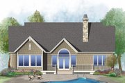 European Style House Plan - 2 Beds 2.5 Baths 1986 Sq/Ft Plan #929-1029 Exterior - Rear Elevation