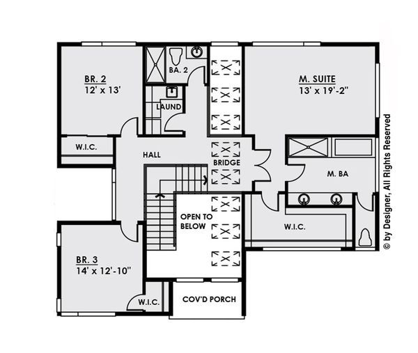 Contemporary Floor Plan - Upper Floor Plan Plan #1066-32