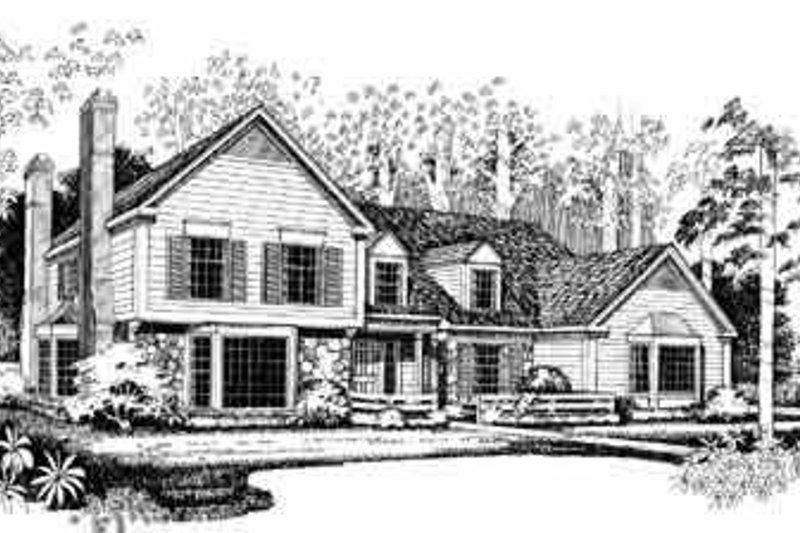 Traditional Exterior - Front Elevation Plan #72-384 - Houseplans.com