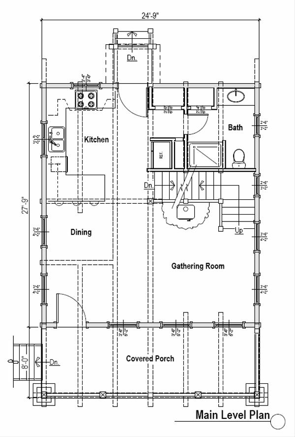 Log Floor Plan - Main Floor Plan #451-1
