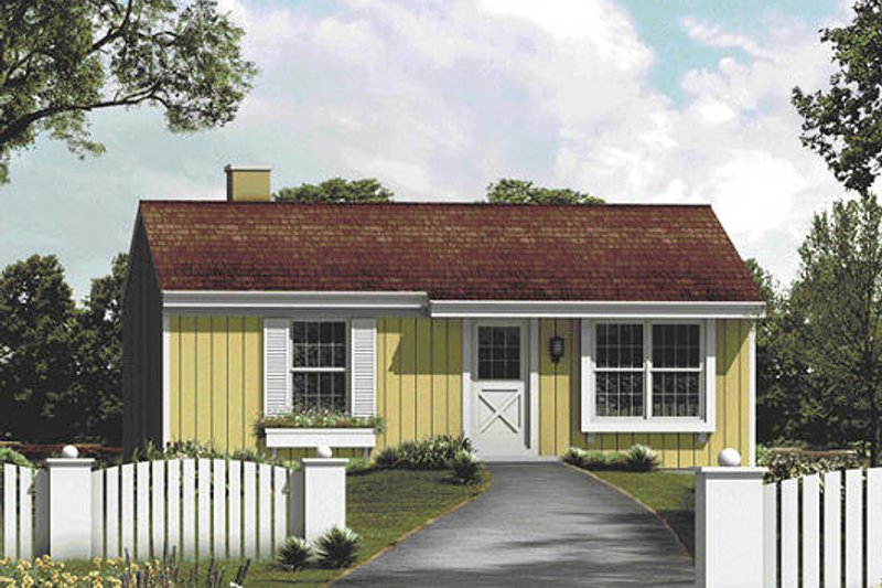 Farmhouse Style House Plan - 2 Beds 1 Baths 768 Sq/Ft Plan #57-410 Exterior - Front Elevation