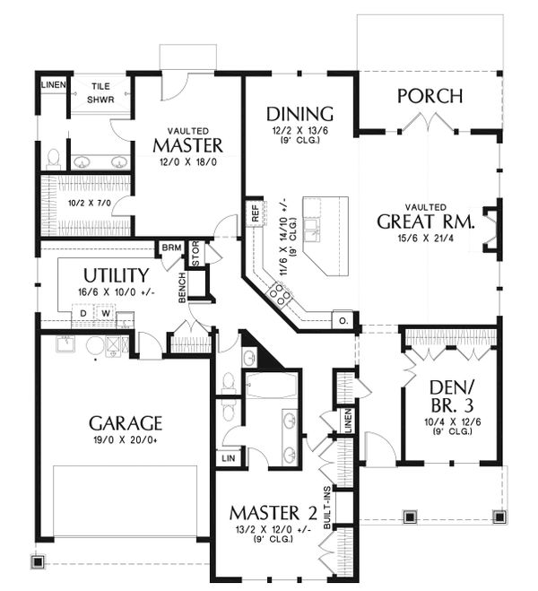 Ranch Floor Plan - Main Floor Plan Plan #48-925