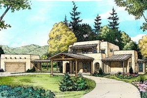 Adobe / Southwestern Exterior - Front Elevation Plan #140-142