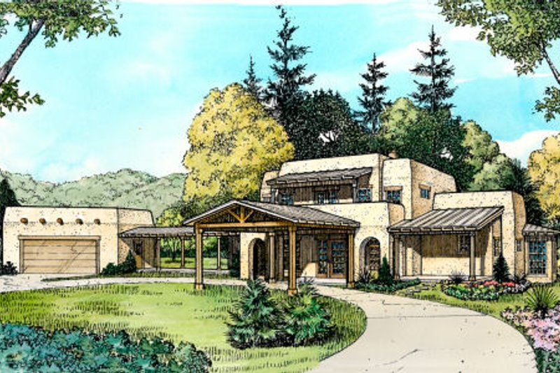 Adobe / Southwestern Style House Plan - 4 Beds 2.5 Baths 2840 Sq/Ft Plan #140-142 Exterior - Front Elevation