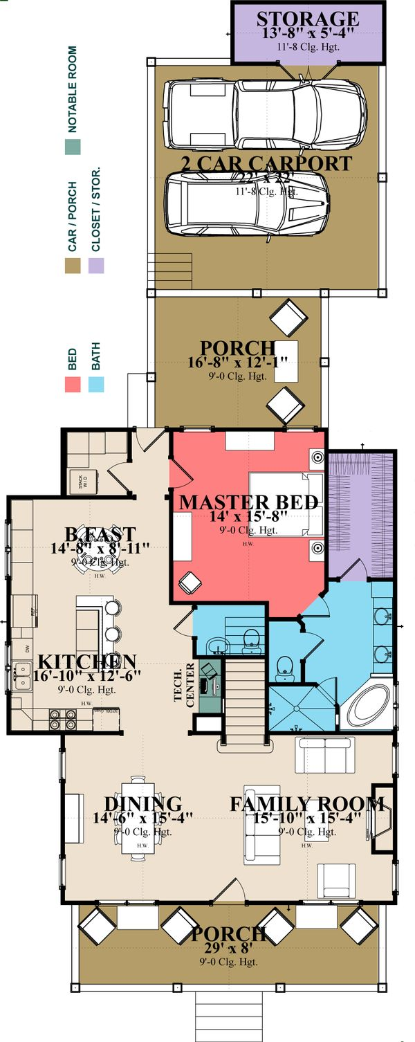 Farmhouse Floor Plan - Main Floor Plan Plan #63-375