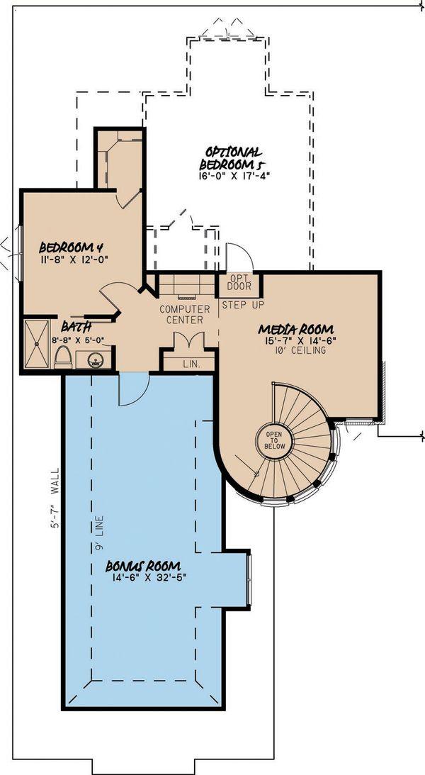 European Floor Plan - Upper Floor Plan #923-1