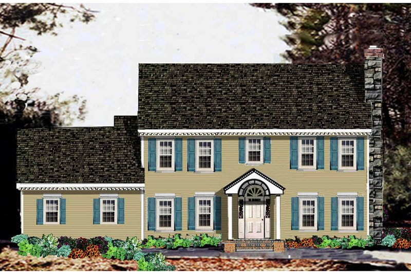 Architectural House Design - Colonial Exterior - Front Elevation Plan #3-213