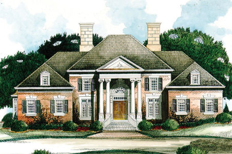 Colonial Style House Plan - 4 Beds 4.5 Baths 5073 Sq/Ft Plan #429-8 Exterior - Front Elevation