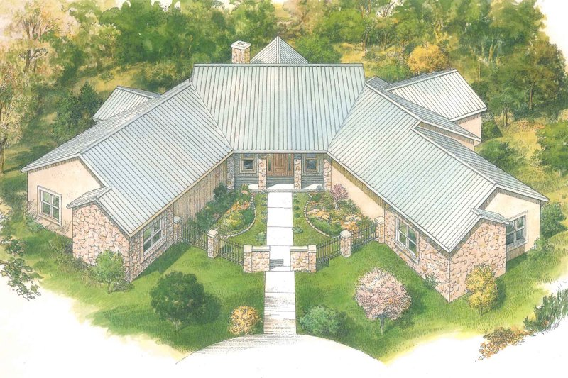 Country Style House Plan - 3 Beds 3.5 Baths 3302 Sq/Ft Plan #140-159 Exterior - Front Elevation