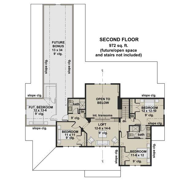 Farmhouse Floor Plan - Upper Floor Plan Plan #51-1153