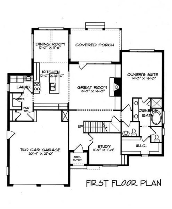 Tudor Floor Plan - Main Floor Plan Plan #413-136