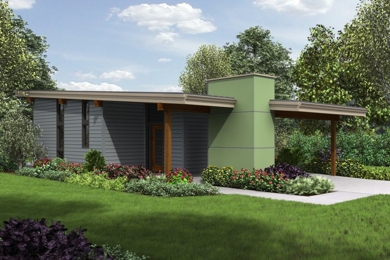 Contemporary Style House Plan - 2 Beds 1 Baths 780 Sq/Ft Plan #48-685 Exterior - Front Elevation