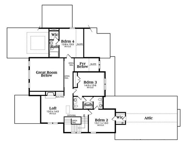 European Floor Plan - Upper Floor Plan Plan #419-270