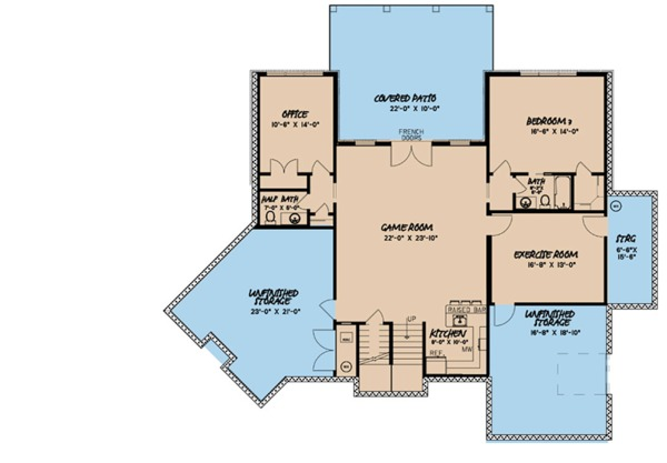European Floor Plan - Lower Floor Plan Plan #923-85
