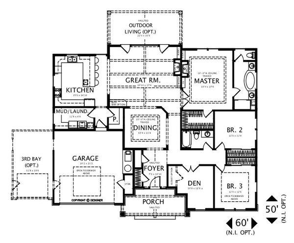 Craftsman Floor Plan - Main Floor Plan #487-1