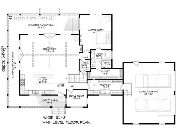 Country Floor Plan - Main Floor Plan #932-68