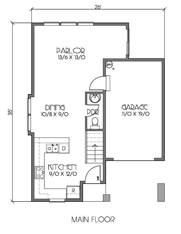 Craftsman Floor Plan - Main Floor Plan Plan #423-62
