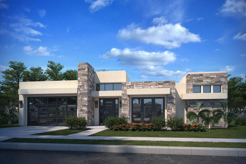 House Plan Design - Adobe / Southwestern Exterior - Front Elevation Plan #1073-25