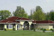 Adobe / Southwestern Style House Plan - 4 Beds 3 Baths 2801 Sq/Ft Plan #1-1022 Exterior - Front Elevation
