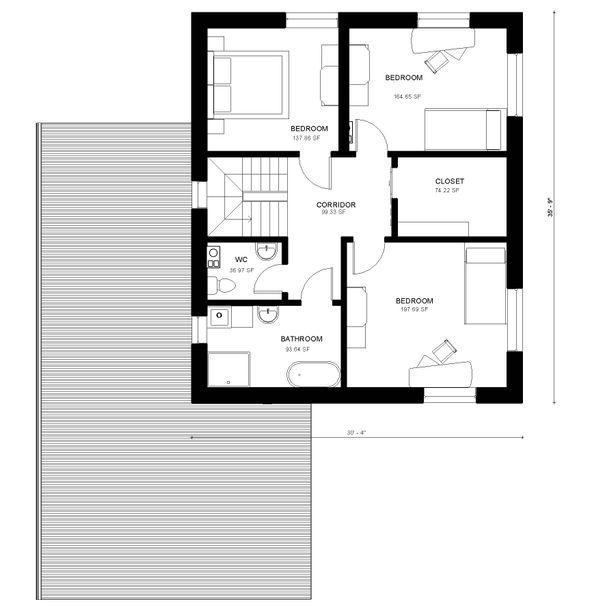 Modern Floor Plan - Upper Floor Plan Plan #906-27
