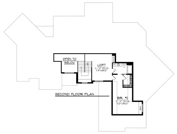Craftsman Floor Plan - Upper Floor Plan Plan #70-1130
