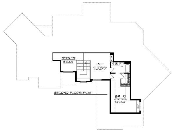 Craftsman Floor Plan - Upper Floor Plan Plan #70-1130