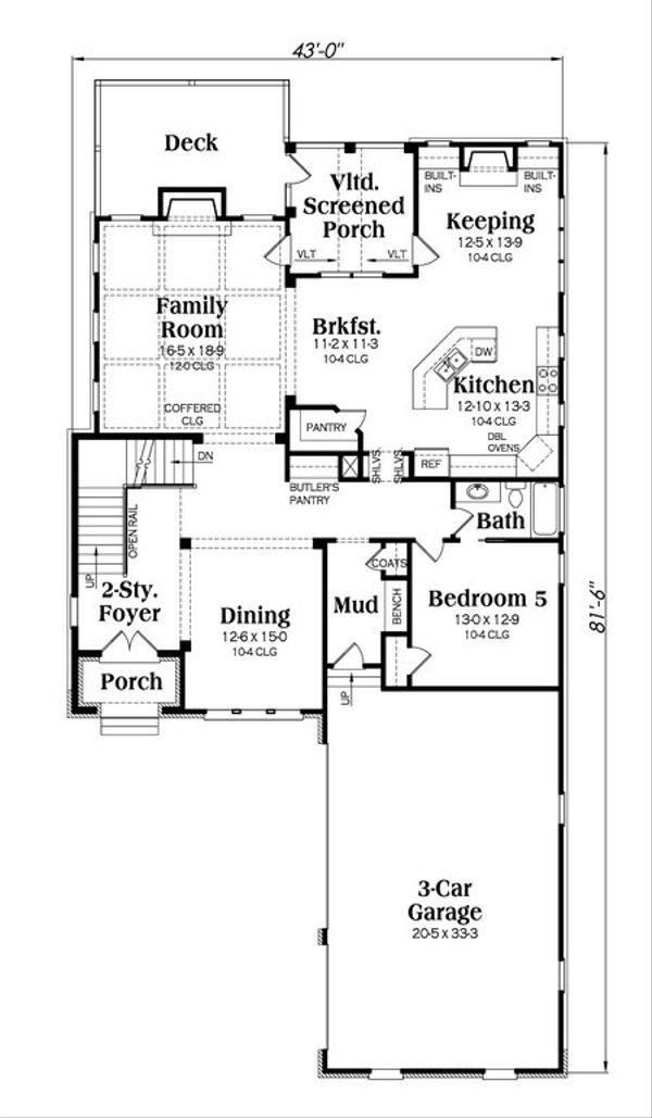 European Floor Plan - Main Floor Plan Plan #419-233