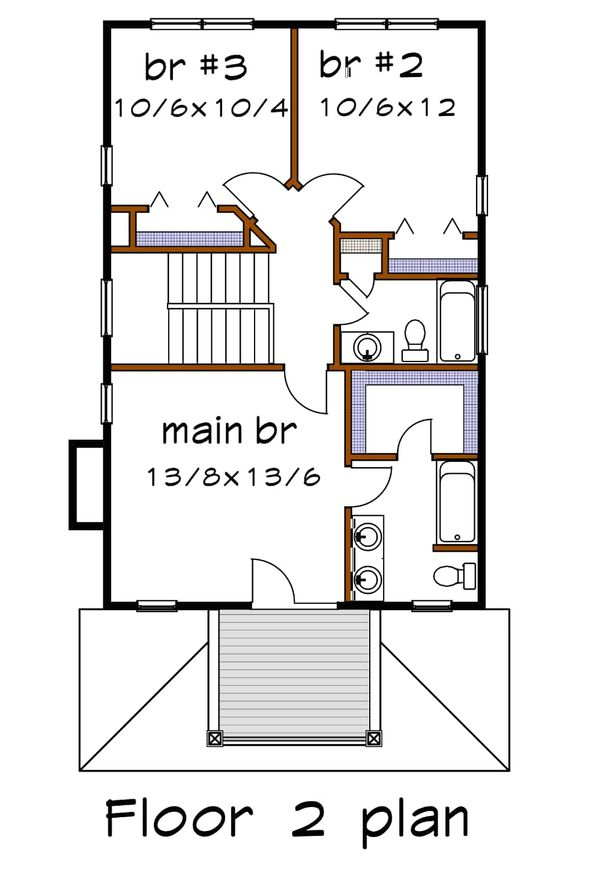 Southern Floor Plan - Upper Floor Plan Plan #79-198