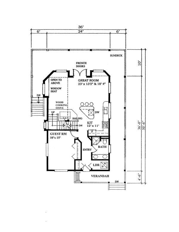Cabin Style House Plan - 3 Beds 2 Baths 1538 Sq/Ft Plan #118-140 Floor Plan - Main Floor Plan