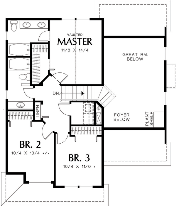 Traditional Floor Plan - Upper Floor Plan Plan #48-113