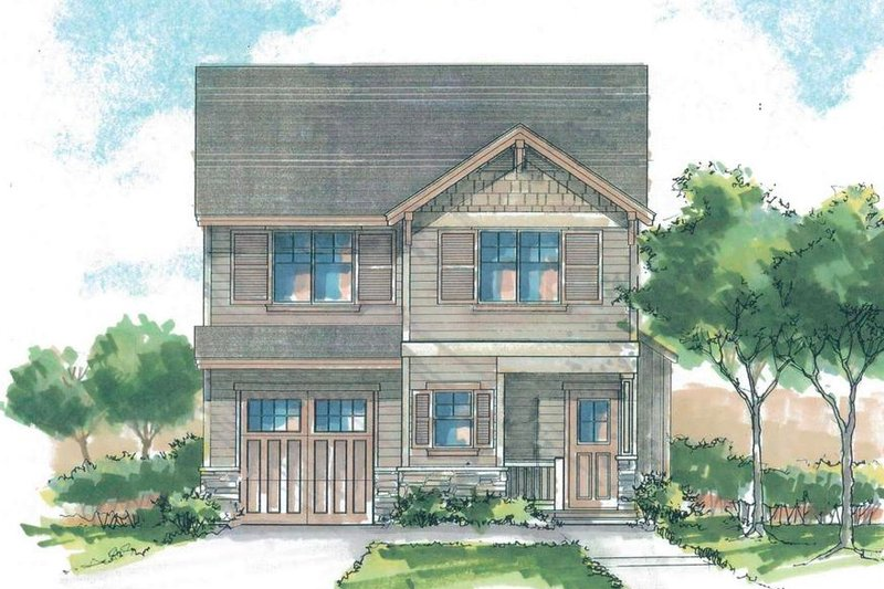 Craftsman Style House Plan - 3 Beds 2.5 Baths 1441 Sq/Ft Plan #53-560 Exterior - Front Elevation