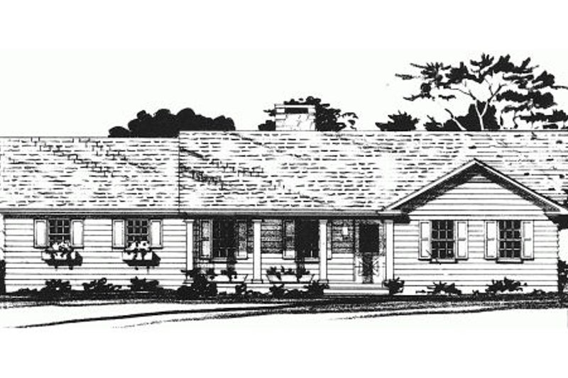 Country Style House Plan - 2 Beds 2 Baths 1172 Sq/Ft Plan #10-121 Exterior - Front Elevation