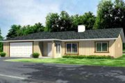 Ranch Style House Plan - 3 Beds 2 Baths 1385 Sq/Ft Plan #1-1242 Exterior - Front Elevation