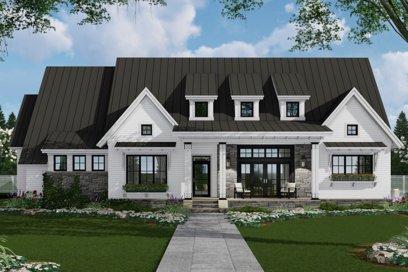 Farmhouse Style House Plan - 3 Beds 2.5 Baths 2287 Sq/Ft Plan #51-1137 Exterior - Front Elevation