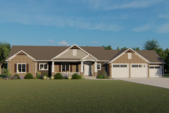 Craftsman Exterior - Front Elevation Plan #1064-59